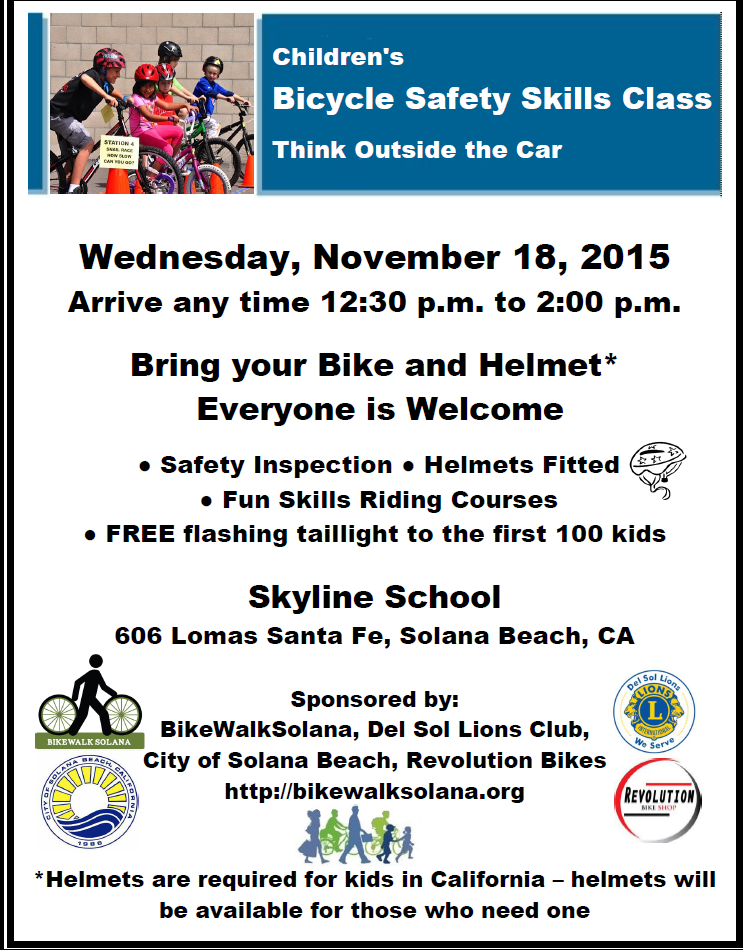 November 18 Kids Bike Safety Class