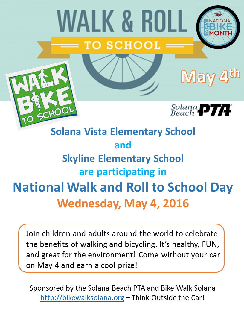 May 4 is Walk 'N Roll to School Day in Solana Beach